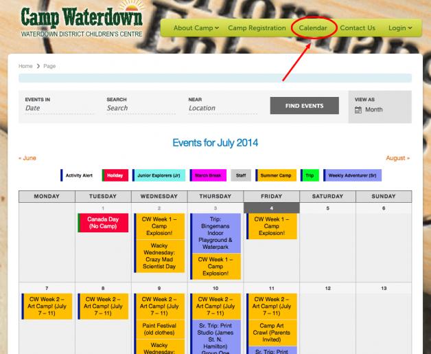 Camp Waterdown Activity Calendar